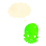 Retro cartoon spooky green skull with thought bubble Royalty Free Stock Photography