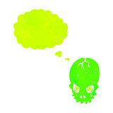 retro cartoon spooky green skull with thought bubble Stock Photography