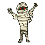 Retro cartoon spooky halloween mummy Stock Image