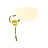 Retro cartoon spooky magic key Stock Image