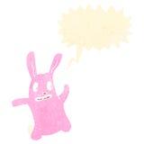 Retro cartoon spooky rabbit with speech bubble Stock Photography