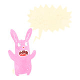 Retro cartoon spooky rabbit with speech bubble Stock Photo