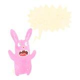 Retro cartoon spooky rabbit with speech bubble Stock Photo