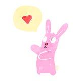 Retro cartoon spooky rabbit with speech bubble Stock Images