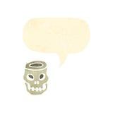 Retro cartoon spooky skull bowl Stock Photography