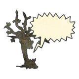 Retro cartoon spooky tree with speech bubble Stock Photos