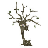 Retro cartoon spooky tree Royalty Free Stock Photography