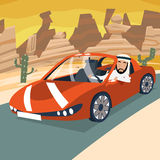 Retro Cartoon Sport Car Transport Happy Arab Stock Photography