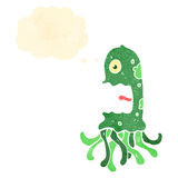 Retro cartoon squid with thought bubble Royalty Free Stock Image