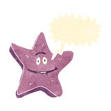 retro cartoon starfish with speech bubble Stock Photos