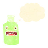 Retro cartoon staring bottle with thought bubble Stock Photography