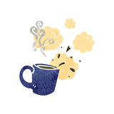 Retro cartoon steaming hot mug Stock Photos