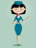 Retro cartoon stewardess Stock Photography