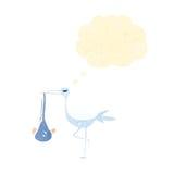 Retro cartoon stork carrying baby Stock Photo
