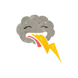 Retro cartoon storm cloud character Stock Photography
