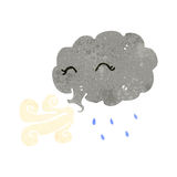 Retro cartoon storm cloud character Stock Image