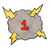 Retro cartoon storm cloud with number one Stock Photography