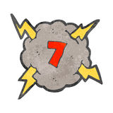 retro cartoon storm cloud with number seven Stock Photo