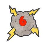 Retro cartoon storm cloud with number six Stock Image