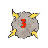 Retro cartoon storm cloud with number three Stock Photo