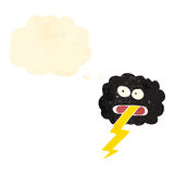 Retro cartoon storm cloud with thought bubble Stock Photography