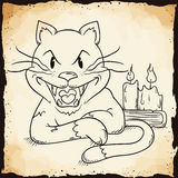 Retro cartoon Style Cat with Candles and Book In-line, Vector Ill Royalty Free Stock Photography
