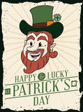 Retro Cartoon Style Poster with Happy Leprechaun for St. Patrick's Day, Vector Illustration Royalty Free Stock Image