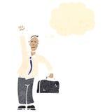 retro cartoon successful businessman punching air Stock Photos