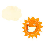 Retro cartoon sun character with thought bubble Royalty Free Stock Image