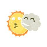 retro cartoon sun and cloud Royalty Free Stock Photography