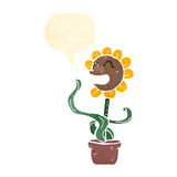 Retro cartoon sunflower Stock Image