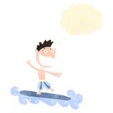 Retro cartoon surfer man Stock Images