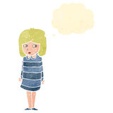Retro cartoon suspicious girl thinking Royalty Free Stock Images
