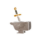 Retro cartoon sword in anvil Royalty Free Stock Image