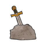 Retro cartoon sword in stone Royalty Free Stock Image