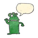 Retro cartoon talking alien Stock Image
