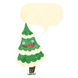 retro cartoon talking christmas tree character Stock Photography