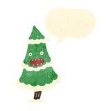 retro cartoon talking christmas tree character Stock Photos