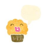 Retro cartoon talking cupcake Stock Photography