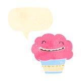 Retro cartoon talking cupcake Stock Photo
