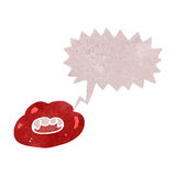 Retro cartoon talking lips. Retro cartoon with texture. Isolated on White Royalty Free Stock Photo