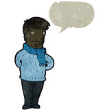 Retro cartoon talking man. Retro cartoon with texture. Isolated on White Stock Image