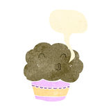 Retro cartoon talking muffin Stock Photo