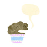 Retro cartoon talking muffin Royalty Free Stock Image