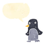 retro cartoon talking penguin Stock Photography