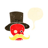 retro cartoon talking skull with top hat Royalty Free Stock Image