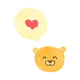 Retro cartoon teddy bear face with love heart Stock Photography