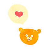 Retro cartoon teddy bear face with love heart Stock Images