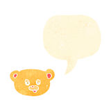 Retro cartoon teddy bear face with speech bubble Stock Photo