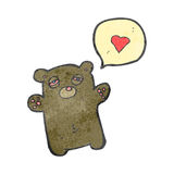 retro cartoon teddy bear with love heart Royalty Free Stock Photos